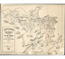 Vintage Map of Rio de Janeiro Brazil (1896) Photographic Print