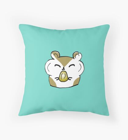Happy Hamster Eating Throw Pillow
