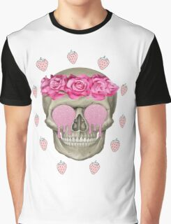 Melting Skull with roses Graphic T-Shirt