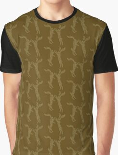 Boxing Hares - Bronze & Gold Graphic T-Shirt
