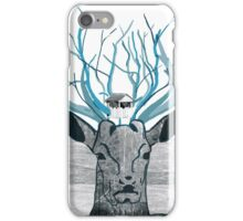 Deer Illustration with Photography iPhone Case/Skin