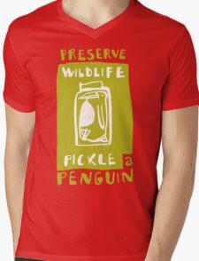 Pickle a Penguin Mens V-Neck T-Shirt