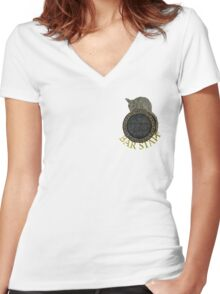 Skyrim- The Winking Skeever Bar Staff Women's Fitted V-Neck T-Shirt