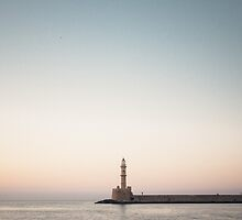Couple hugging, Old Harbour, Chania, Crete (in colour) by Catherine  Regan
