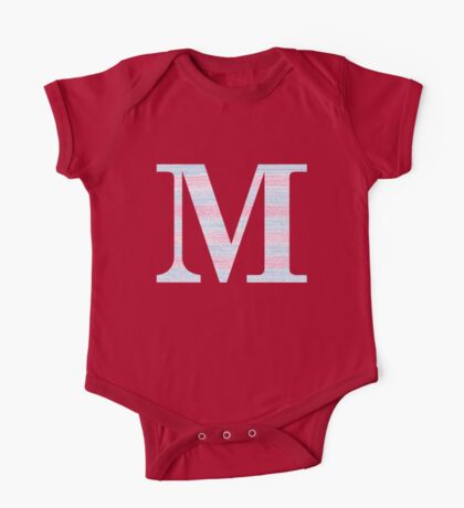 Letter M Blue And Pink Dots And Dashes Monogram Initial One Piece - Short Sleeve
