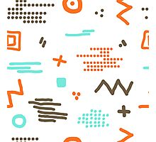 Modern hand draw colorful abstract seamless pattern with geometrical shapes Vector illustration. Photographic Print