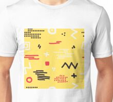 Modern hand draw colorful abstract seamless pattern with geometrical shapes Vector illustration. Unisex T-Shirt