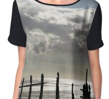 Rain Clouds at Sunset on the Beach Chiffon Top