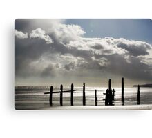Rain Clouds at Sunset on the Beach Canvas Print