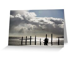 Rain Clouds at Sunset on the Beach Greeting Card