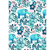 Dusty Pink, White and Teal Elephant and Floral Watercolor Pattern Photographic Print
