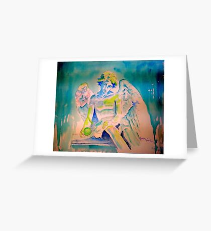 Angel with Green Ball Greeting Card