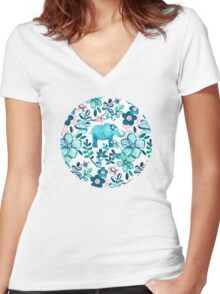 Dusty Pink, White and Teal Elephant and Floral Watercolor Pattern Women's Fitted V-Neck T-Shirt