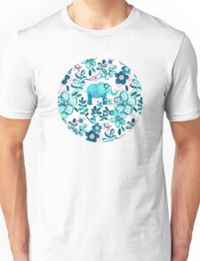 Dusty Pink, White and Teal Elephant and Floral Watercolor Pattern Unisex T-Shirt