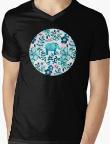 Dusty Pink, White and Teal Elephant and Floral Watercolor Pattern Mens V-Neck T-Shirt