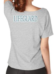 LIFEGUARD,  Swim, Swimmer, Emergency, Rescue, Life Saver,on BLUE, TURQUOISE Women's Relaxed Fit T-Shirt