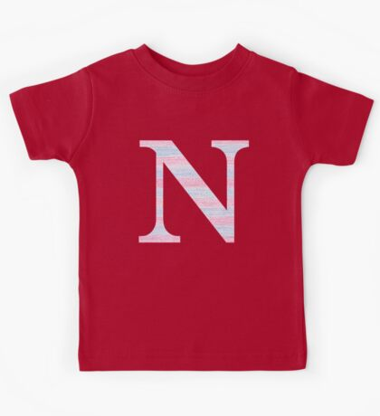 Letter N Blue And Pink Dots And Dashes Monogram Initial Kids Tee