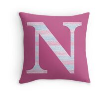 Letter N Blue And Pink Dots And Dashes Monogram Initial Throw Pillow