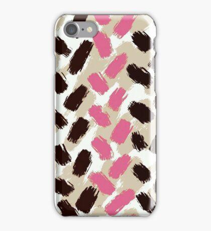 Strawbery Mocha Herringbone Brushstrokes iPhone Case/Skin