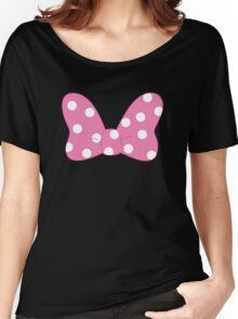 Polka Dot Bow - Pink Women's Relaxed Fit T-Shirt