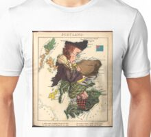 Vintage Scotland Bagpiper Map (1868) Unisex T-Shirt