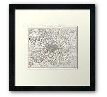 Vintage Map of London England (1832) Framed Print