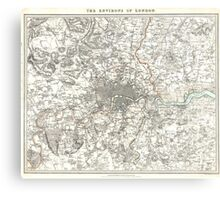 Vintage Map of London England (1832) Canvas Print
