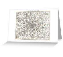 Vintage Map of London England (1832) Greeting Card