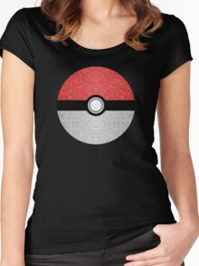 Sparkly red and silver sparkles poke ball Women's Fitted Scoop T-Shirt