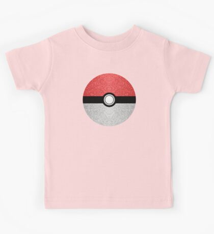 Sparkly red and silver sparkles poke ball Kids Tee