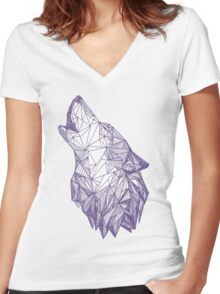 Triangulated Wolf Head Women's Fitted V-Neck T-Shirt