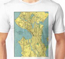 Vintage Map of Seattle Washington (1914) Unisex T-Shirt