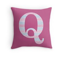 Letter Q Blue And Pink Dots And Dashes Monogram Initial Throw Pillow