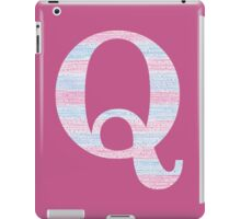 Letter Q Blue And Pink Dots And Dashes Monogram Initial iPad Case/Skin