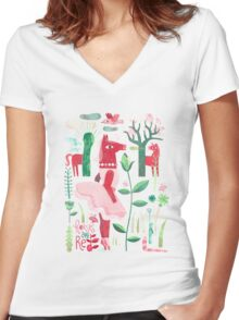 Horses are red Women's Fitted V-Neck T-Shirt