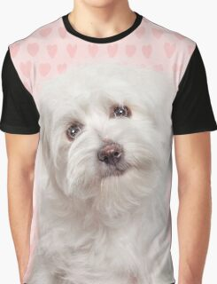 Pink love hearts and Coton de Tulear Dog Graphic T-Shirt