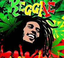 Reggae Rasta Colors Fun and Marijuana by BluedarkArt