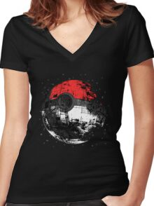 Pokemon Death Star Ultimate ! Women's Fitted V-Neck T-Shirt
