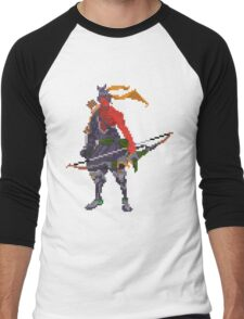 Red Hanzo Pixel Men's Baseball ¾ T-Shirt
