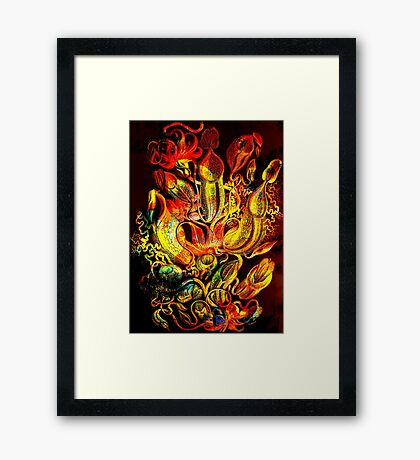 Plants & Animals, carnivorous, pitcher plants, tropical, Nepenthes, psychedelic, art, illustration, haeckel,  Framed Print