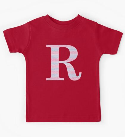 Letter R Blue And Pink Dots And Dashes Monogram Initial Kids Tee