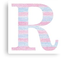 Letter R Blue And Pink Dots And Dashes Monogram Initial Canvas Print