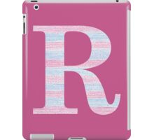 Letter R Blue And Pink Dots And Dashes Monogram Initial iPad Case/Skin