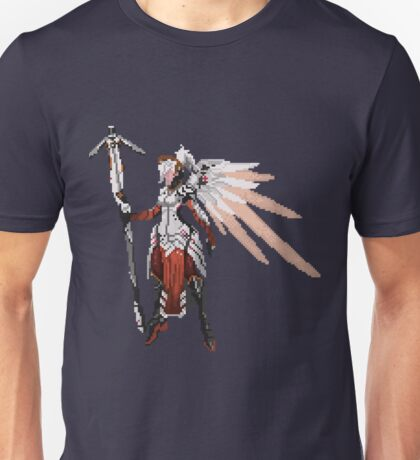 Dark Red Mercy pixel Unisex T-Shirt