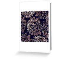 Elegant Rose Gold Floral Drawings on Navy Blue Greeting Card