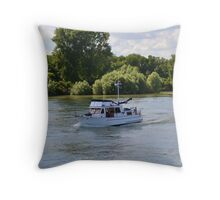 Grand Banks Style Motor Boat Throw Pillow