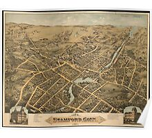 Vintage Pictorial Map of Stamford CT (1875) Poster
