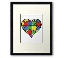 Autism Awareness Heart Framed Print