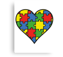 Autism Awareness Heart Canvas Print