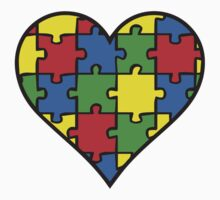 Autism Awareness Heart One Piece - Short Sleeve